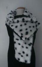 Cruella de Ville 101 Dalmatians Fur Fabric Shawl Unique Fancy Dress Blk lining
