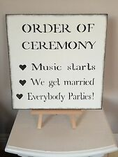 Signo de Boda Ceremonia de orden de De Madera Shabby Chic Decoración Vintage recepción