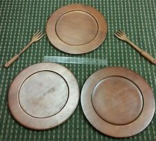 Pier1 Imports 3 Wood Salad Plates W/ 2 Wooden Carved Forks Dark Finnish Rustic