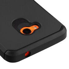 For Nokia Lumia 640 - HARD TPU GUMMY RUBBER HYBRID SKIN CASE COVER BLACK ARMOR