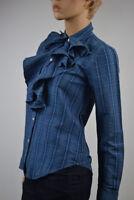 Ralph Lauren Blue Plaid Ruffled Long Sleeve Shirt Blouse - NWT
