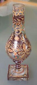 Antique Hand-Painted Bohemian Art Glass Vase, Red/Blue/Gold Floral Motif