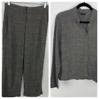 Eileen Fisher Womens Petite Small Jacket Pants Set Gray Linen Blend Button up