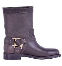 Wadenhohe Damen-Stiefel aus Echtleder ohne Verschluss für die Freizeit