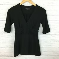 BCBGMaxazria Women's Black Knit Top Fitted Stretch Blouse Black Top Size XS