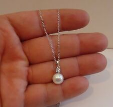 DANGLING PEARL NECKLACE PENDANT W/ LAB DIAMONDS  / 925 STERLING SILVER /18''
