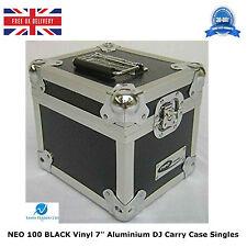 "2 X NEO BLACK Aluminium DJ Storage Case Holds 100 Vinyl 7"" Singles Records HQ"