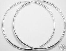 Echt 925 Silber Ohrhänger Creolen 40mm matt od glanz Rohrcreolen dünne große