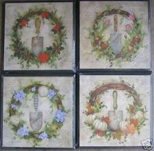 New Garden Wreath Seasons Wall Plaques Set Lot of 4 Cottage Farmhouse Chic Decor