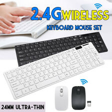Slim 2.4GHz Wireless Keyboard and Mouse Set Full-Size FOR USB PC Laptop Computer