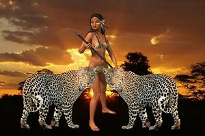 """perfect 36x24 oil painting handpainted on canvas """"a woman and two tigers""""@N3284"""