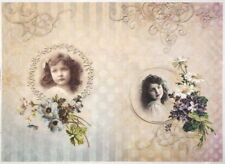 Rice Paper for Decoupage, Scrapbook Sheet, Girls with flowers Sepia