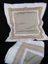 Set of 2 Brown Ivory EURO SHAMS Linen Wicker Accent Zip In Square Large 31 X 31