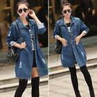 Fashion Women Long Sleeve Denim Jacket Jean Coat Outwear Overcoat Tops Plus Size