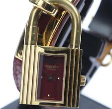 HERMES KELLY WATCH GP/SS Gold wine-red Dial Leather Strap Ladies Watch_ 273381