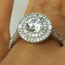 1.65 CT 10k White Gold round halo man made diamond Engagement wedding Ring S6789