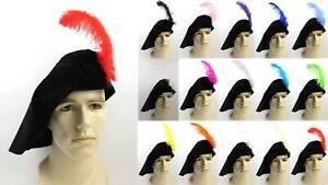 MENS RENAISSANCE ARTIST POET SHAKESPEARE MEDIEVAL CELTIC COSTUME HAT W/ FEATHER