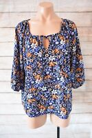 SES Top Sz 14 Large Orange White Blue Floral Tunic Smock Blouse
