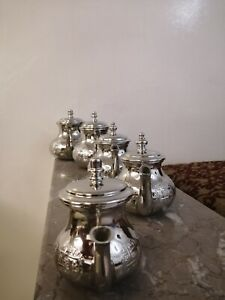 Moroccan series of royal teapots tea set handmade silver authentic morocco Fez