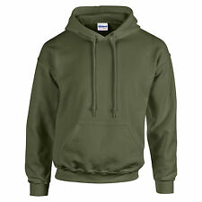 Mens Adult Gildan Heavy Blend Hoodie Hooded Plain Colour Sweatshirt Top Military Green M