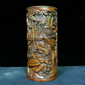 Old Boxwood Collectible Wood carving Bamboo Forest Seven Sages Chinese Brush Pot