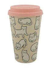 Bamboo Travel Cup Cute Cat Eco-Friendly Cream 14.5 x 8.5cm