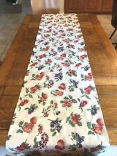 "LONGABERGER beige green pears apples fruit WINDOW VALANCE 18"" x 74"" USA"