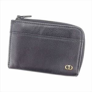 Dior Wallet Purse Coin Purse Black leather Woman unisex Authentic Used C3515