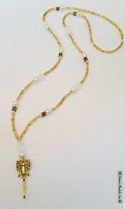Gold Butterfly & Pearls ID Badge Holder HANDMADE Beaded Lanyard Fashion Necklace