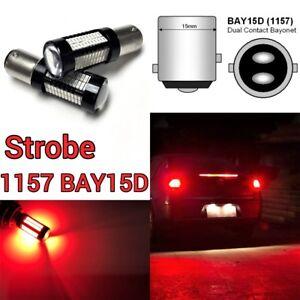 Strobe Front Signal Light 1157 2057 3496 7528 BAY15D 108 Red LED Bulb B1 #1