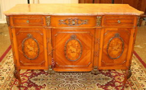 Stunning Inlaid Kingwood Louis XV Style French Marble Top Commode Chest Server