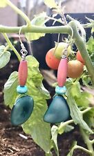 Blue Bead & Silver ear wires Turquoise Tagua Nut dangle earrings with Pink&