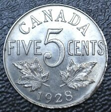 OLD CANADIAN COIN  1928 - KEY DATE - FIVE CENTS - George V - HIGH GRADE