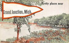 Grand Junction Michigan~Pretty Places~Lake Scene~1910 Pennant Postcard