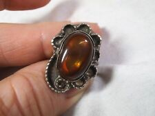 Vintage Old Pawn Mexican Fire Opal Sterling Silver Ring - -Size 4