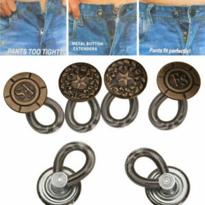 1 Pack Perfect Fit Pants Button Instant Fix Metal Waist Extenders 6 Buttons