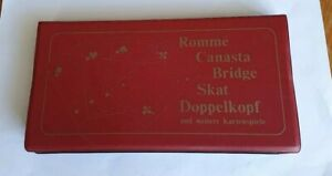 Vintage Bridge/Poker/Other Playing Card Games Bright Durable In Red Plastic Case