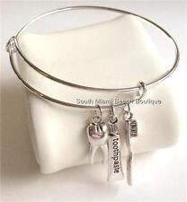 Silver Plated Dental Charm Bracelet Tooth Brush Dentist Hygienist Assistant Gift