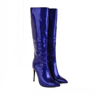 Women Pointy Toe Knee High Boots Stilettos Patent Leather Zip Up Heel Clubwear