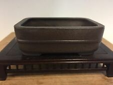 Rectangle Brown Clay Shohin Size Hokido Bonsai Tree Pot 4 1/8""