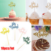 10pcs Oh Baby Cupcake Toppers Baby Shower First Birthday Cake Decoration a