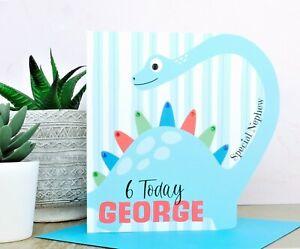 Personalised Boy Dinosaur Birthday Card 2nd 3rd 4th 5th 6th 7th 8th Handmade