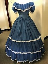 Victorian Civil War Hoop Dress Reenactment Costume - Blue & White Dotted Swiss