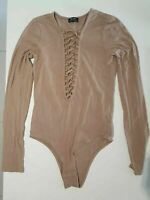 Size 8 BARDOT light brown/latte colour bodysuit lace Up bust