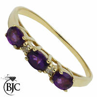 BJC® 9ct Yellow gold Amethyst & Diamond Half Eternity engagement ring R261