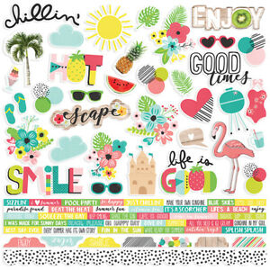 Simple Stories Hello Summer Collection 12x12 cardstock stickers combo
