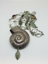 Artisan Handcrafted Large Sea Shell Crystal/ Glass Bead Sterling Long Necklace