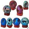 Egg/Sphere Titanium Coated Quartz Geode Agate Figurine Mineral Specimen Healing