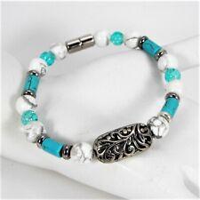 Handmade Turquoise & White Howlite Bead Bracelet Silver Tone Openwork Metal #13