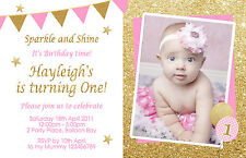 Personalised Pink Gold Birthday Invitations Glitter 1st 2nd 3rd Photo invites